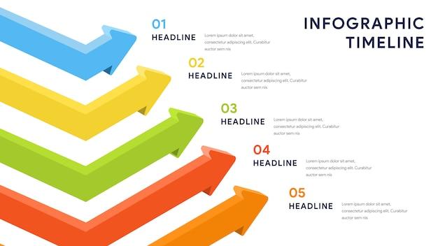 ステップ、タイムライン、ワークフローのインフォグラフィック要素