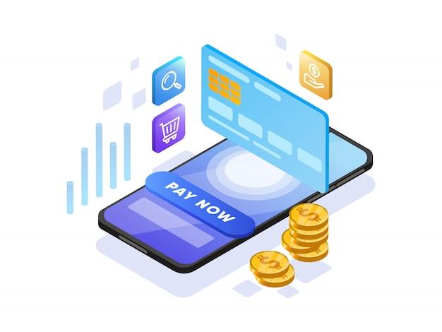 Оплата онлайн с мобильного телефона изометрические