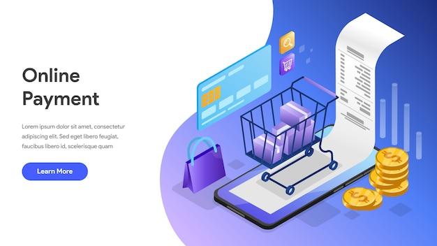 Изометрические концепции онлайн-платежей для целевой страницы, домашней страницы, веб-сайта