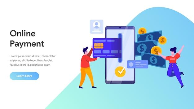 リンク先ページ、ホームページ、ウェブサイトのモバイル決済または送金のコンセプト
