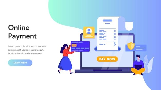 Платеж онлайн или концепция перевода денег для целевой страницы, домашней страницы, веб-сайта