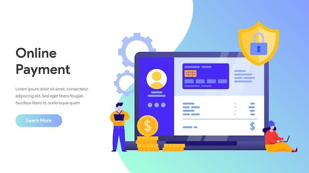 リンク先ページ、ホームページ、ウェブサイトのオンライン支払いまたは送金のコンセプト