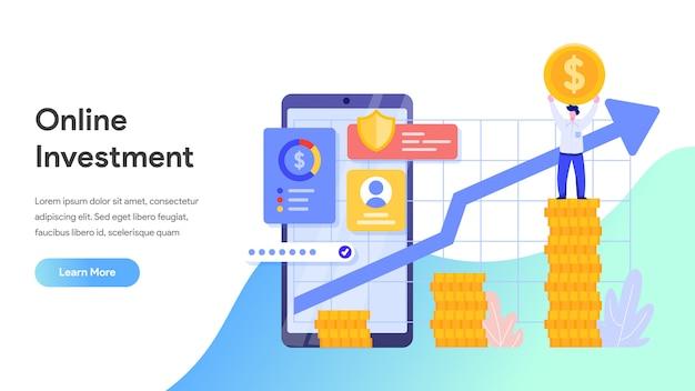 Онлайн инвестиции с мобильного телефона для целевой страницы, веб-сайта, домашней страницы