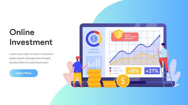 リンク先ページ、ウェブサイト、ホームページ用のラップトップを使用したオンライン投資