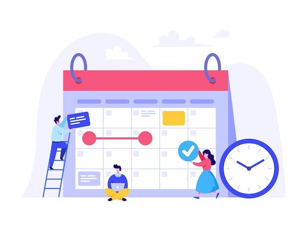 Концепция планирования расписания для целевой страницы, пользовательского интерфейса, веб-сайта, домашней страницы
