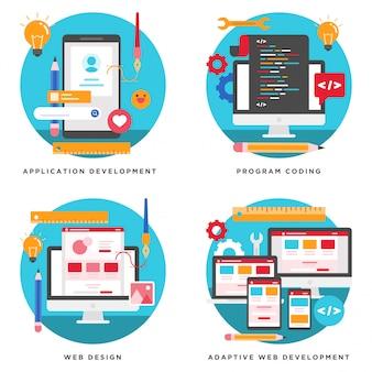 アプリケーション、ウェブサイト開発、プログラムコーディングデザイン