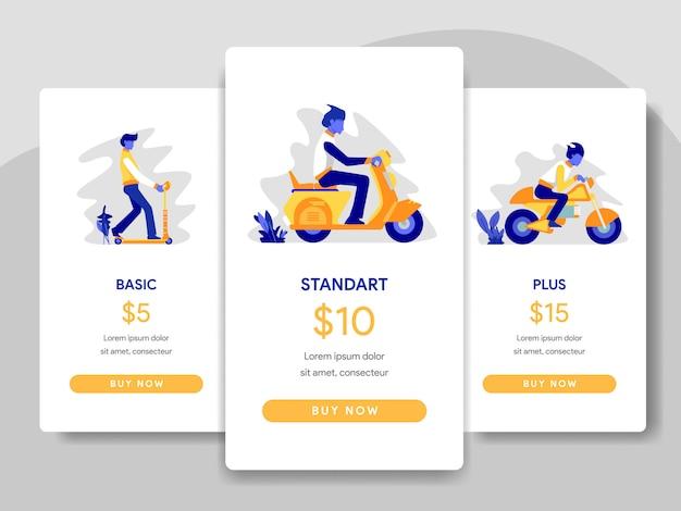 スクーター、オートバイのイラストレーションとの価格表の比較