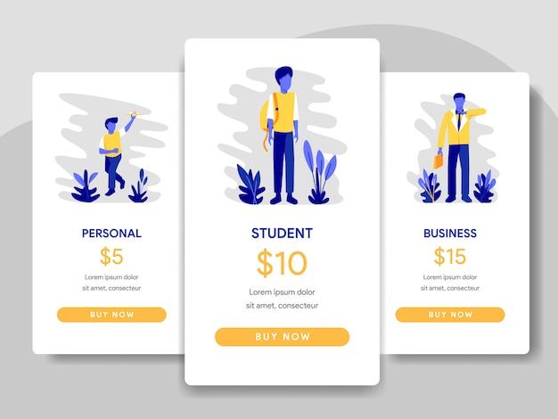 学生とビジネスマンのコンセプトによる価格表の比較