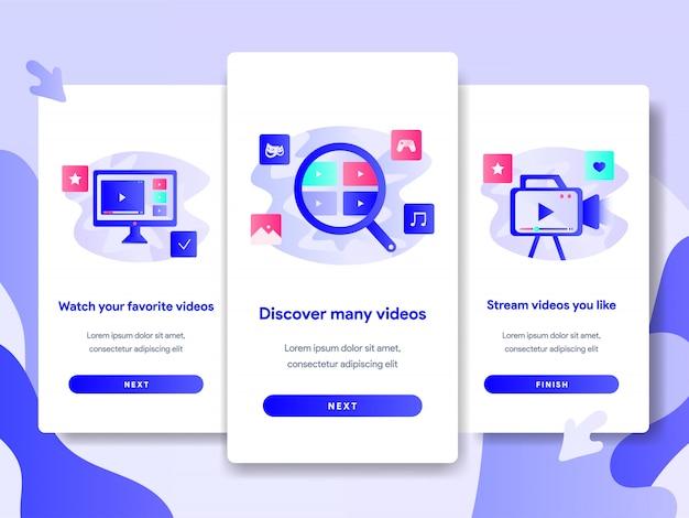 ビデオストリーミングアプリケーションのチュートリアル画面テンプレート