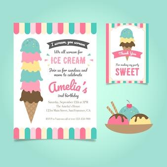 アイスクリーム誕生日パーティーの招待状のテンプレート