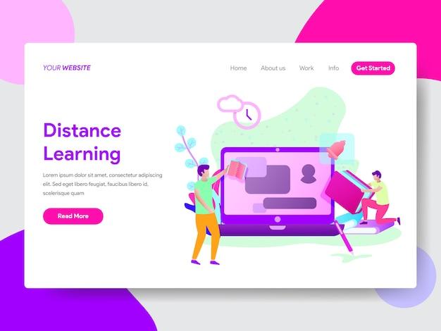 Иллюстрация дистанционного обучения студентов для веб-страниц