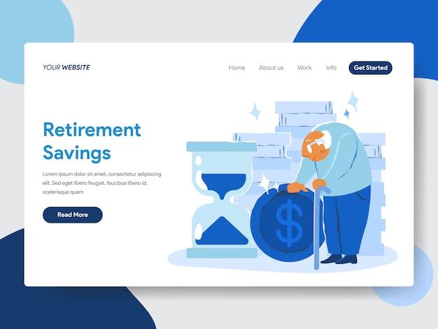 Концепция иллюстрации пенсионных накоплений для веб-страниц