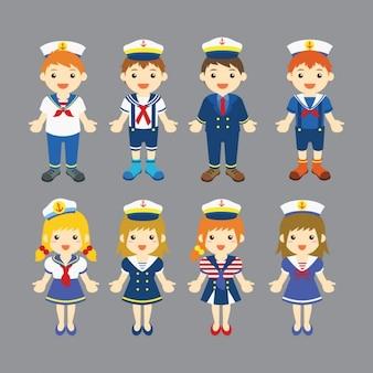 航海の服を身に着けている男の子と女の子