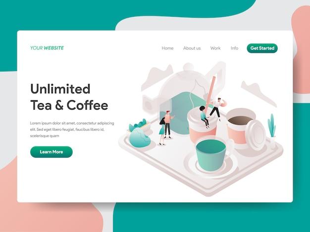 無料の紅茶とコーヒーの等角投影図。ランディングページ