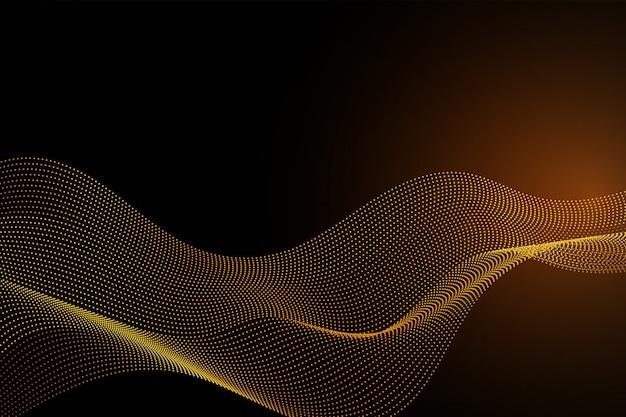 ゴールドカラーライン波粒子抽象的な背景
