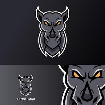 Черный злой носорог талисман шаблон спортивного киберспорта для команды стримеров