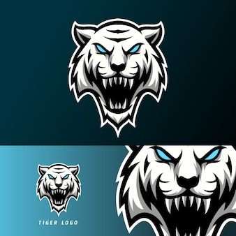 Белый злой тигр талисман спорт кибер логотип шаблон длинные клыки
