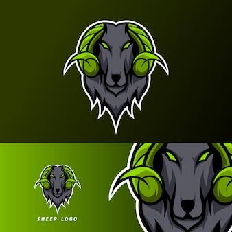 Коза овечья талисман спортивный кибер логотип шаблон черный мех зеленый рог
