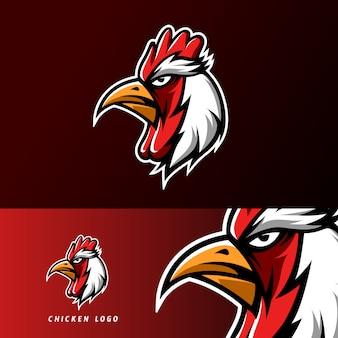 Красный куриный ростер талисман спортивный кибер логотип шаблон