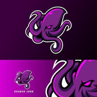 Кракен осьминог кальмары талисман спорт кибер логотип шаблон
