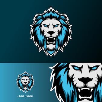 Шаблон логотипа спорт кибер злой лев ягуар талисман