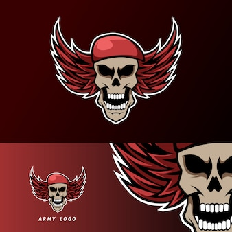Череп армия шляпа крылья талисман спорт кибер логотип шаблон