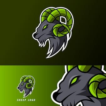 Козел овец талисман игровой спорт киберспорт логотип шаблон черный мех зеленый рог