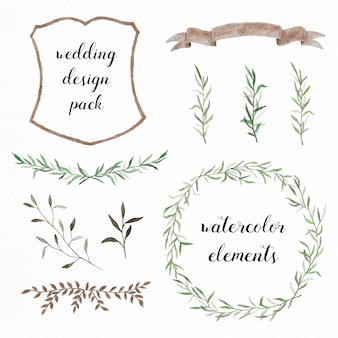 手描きの水彩画の要素は、結婚式の設計のためのパック