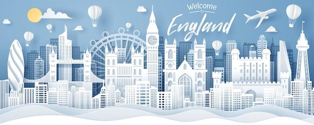 イギリスのランドマーク、旅行、観光の概念のペーパーカット。