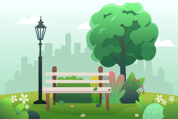 Общественный парк со скамейкой и весной.