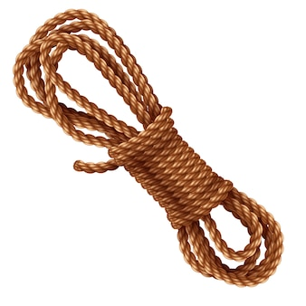 白で隔離されるロープ