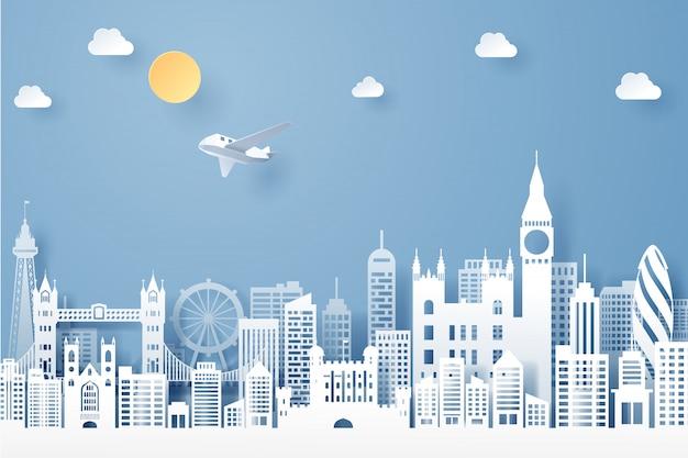 イギリスのランドマーク、旅行、観光の概念の紙カット