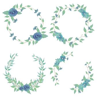蝶エンドウ豆とバラの花を持つフレーム。