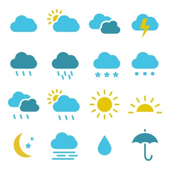 Цветная коллекция иконки погоды
