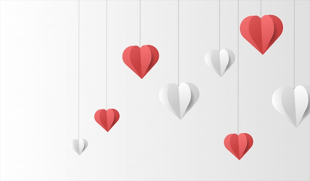 ペーパーカットスタイルの背景を持つバレンタインベクトル