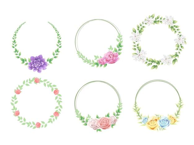 美しい花で設定された花のフレーム