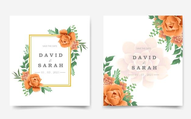 オレンジ色の花と美しい結婚式の招待カード