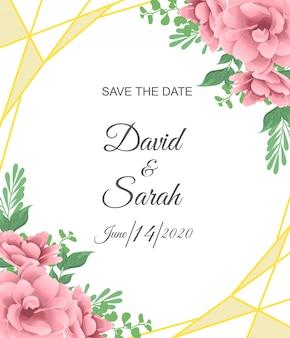 赤い花と美しい結婚式の招待カード