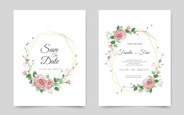 赤いバラと美しい結婚式の招待カード
