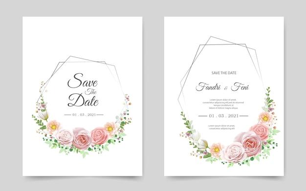 バラの美しい結婚式の招待カード