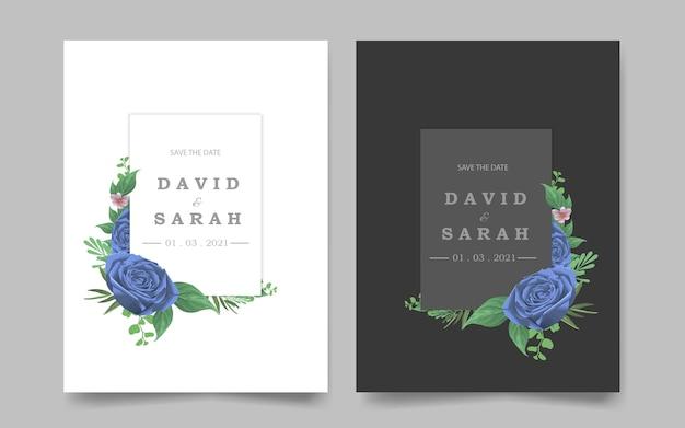 Шаблон свадебного приглашения с голубой цветочной рамкой