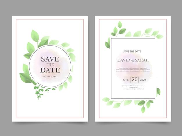 緑の葉と美しい結婚式の招待状