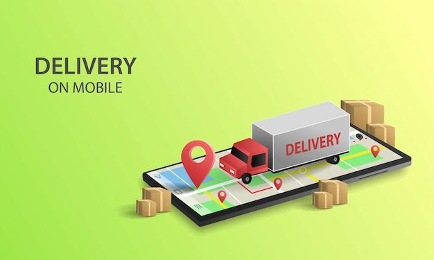 Онлайн сервис доставки концепции на мобильный, онлайн отслеживание заказа, доставка на дом и в офис. городская логистика
