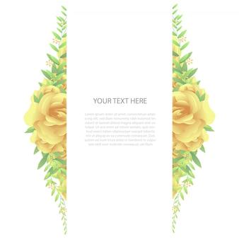 Вертикальная цветочная рамка с текстовым шаблоном