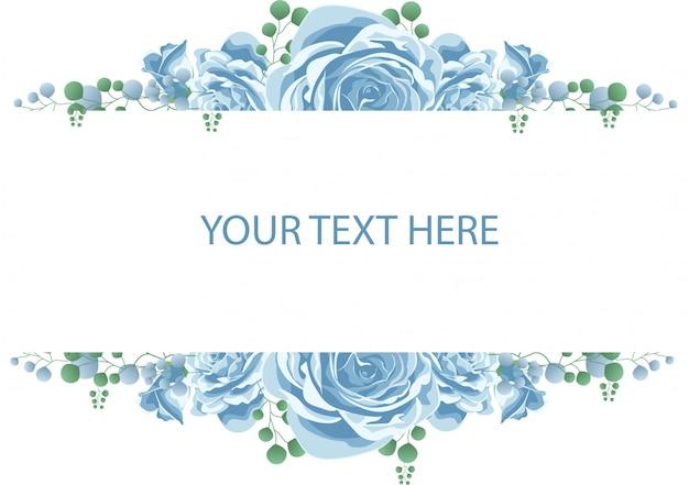 青いバラの花のフレーム