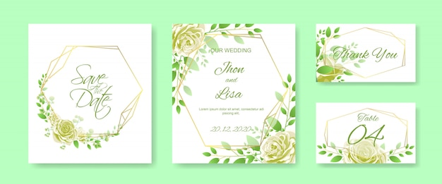 黄色いバラと結婚式の招待カードセット