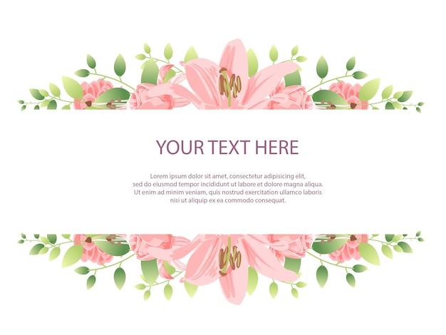 ピンクの花と美しい花のフレームの背景