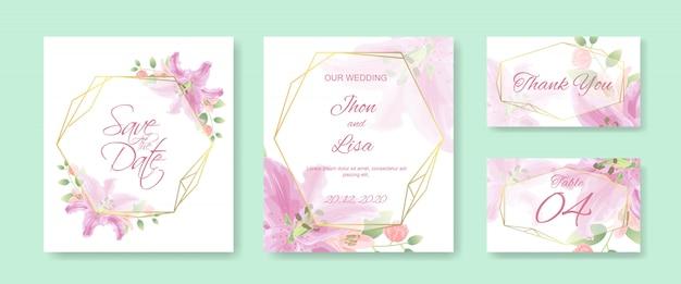 美しい花で設定した結婚式の招待カードテンプレート