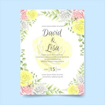 美しい花の結婚式招待状カードのテンプレート