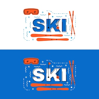 Лыжный баннер, дизайн с линией надписей на лыжах с иконками